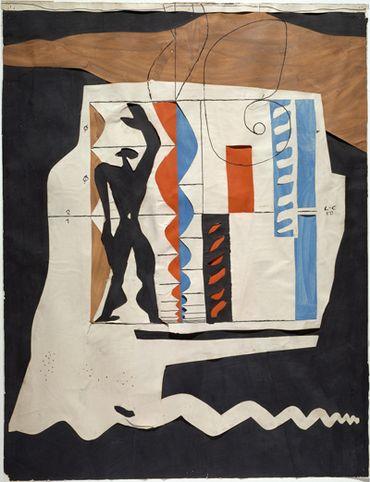 Le Modulor, 1950, Encre de Chine et collage de papiers gouachés et découpés,  70 x 54 cm