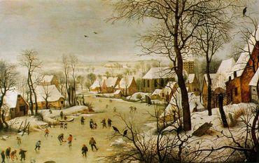 Pieter Bruegel l'Ancien - Paysage d'hiver avec patineurs et trappe à oiseaux - 1565