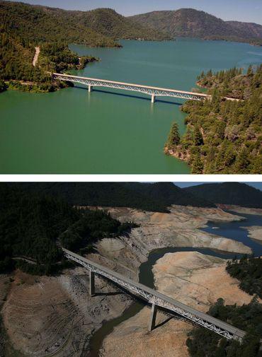 """Vues du """"Enterprise Brigde"""" sur le Lac d'Oroville le 20 juillet 2011 et le 19 août 2014."""
