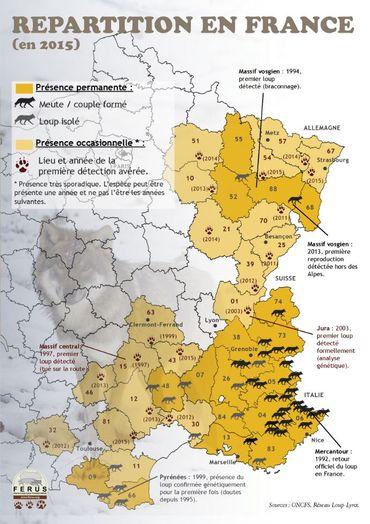 Carte de répartition du loup en France en 2015