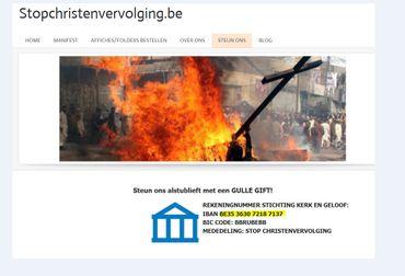 Le même numéro de compte que celui indiqué pour soutenir l'école Sint-Ignatus mais cette fois à destination d'une association défense des chrétiens