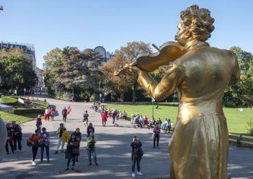 Statue de Johann Strauss dans un parc viennois le 16 octobre 2016