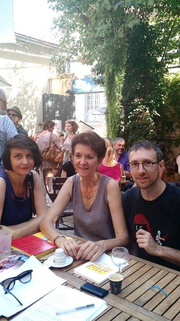 Les auteurs Laurence Vielle, Christine Van Acker et Rémi Pons au Théâtre des Doms à Avignon