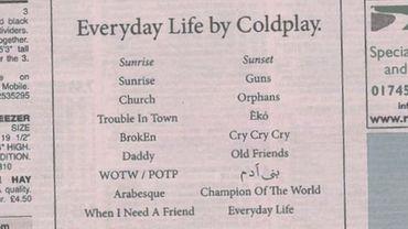 """Coldplay publie dans les """"petites annonces"""" d'un journal local"""