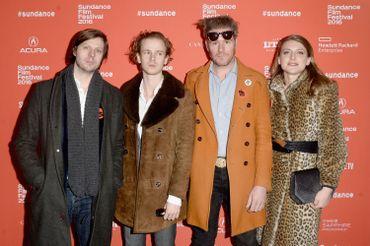 """Belgica"" Premiere - 2016 Sundance Film Festival - Felix Van Groeningen, et les acteurs Steph Aerts, Charlotte Vandermeersch, et Tom Vermeir"
