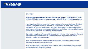 """Ryanair: dans un mail adressé à ses clients, la direction parle d'une grève """"inutile"""""""