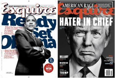 """A gauche, la couverture du magazine """"Esquire"""" de novembre 2008 avec Barack Obama en couverture. A droite, le même magazine en janvier 2016."""