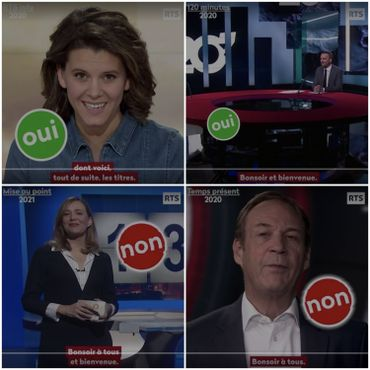 Captures d'écrans de la vidéo de la RTS pointant des bonnes et des mauvaises formulations en matière d'inclusion.
