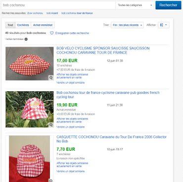 Sur ebay, on trouve des dizaines d'offres pour acheter le bob Cochonou. Et parfois les prix s'envolent.