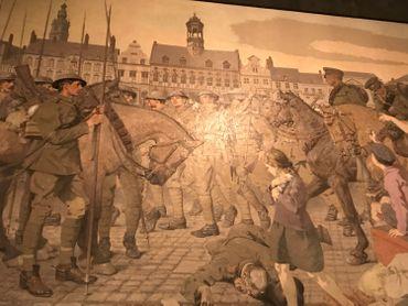 Ce tableau au War Memorial Museum représente la libération de Mons le 10 novembre 1918