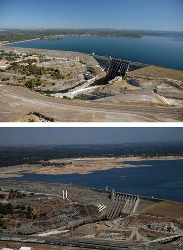 Vues du barrage du Lac de Folsom le 20 juillet 2011 et le 19 août 2014.