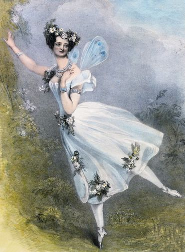 Marie Taglioni as Flore in Charles Didelot's ballet Zephire et Flore. Hand colored lithograph, circa 1831.