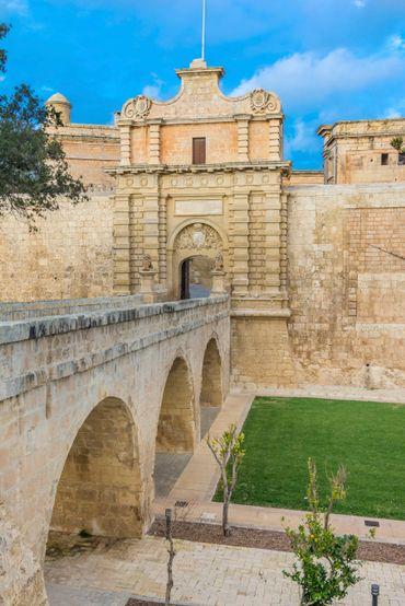 La porte d'entrée de Mdina à Malte