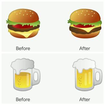 Before/After du cheeseburger et de la bière
