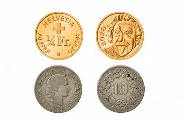 Montage photos montrant une pièce de 25 francs suisses en or émise en 2020, et une pièce de 10 cents datant de 1879. Ces deux pièces sont entrées dans le livre Guinness des records en tant que plus petite pièce commémorative du monde et plus ancienne pièce originale encore en circulation.