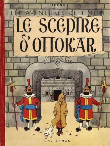 La même couverture modifiée par Hergé