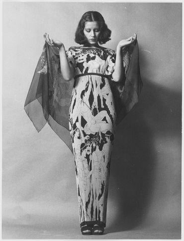 Robe longue imprimée grecque
