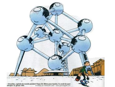 Gaston Lagaffe et l'Atomium, par André Franquin