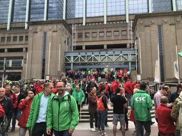 Les manifestants à la gare du Nord.