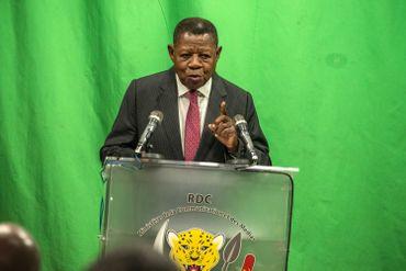 Lamber Mende, porte-parole de la coalition au pouvoir, le Front Commun pour le Congo (FCC) en août 2018 à Kinshasa