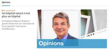 """Une contribution externe labellisée """"Opinions"""" sur le site Info de la RTBF"""
