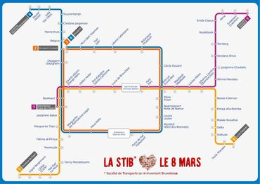 Le plan du métro adapté pour la journée des droits des femmes.