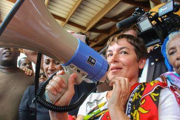 La ministre de l'outre-mer Annick Girardin s'adressant aux maorais ce 12 mars à Mamoudzou