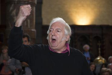 Bernard-Henri Levy entarté par Noël Godin, alias Le Gloupier, à Namur