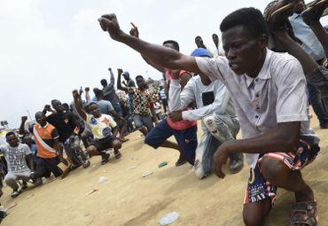 Manifestants à Lagos (Nigeria) le 20 octobre 2020