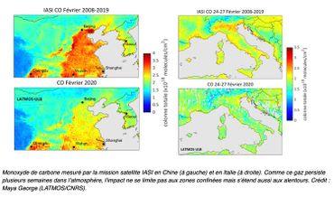 Vue du taux de monoxyde de carbone dans le nord-est de la Chine et le nord de l'Italie