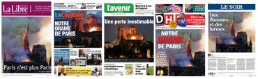 """""""Notre drame"""": les Unes de la presse au lendemain de l'incendie de Notre-Dame de Paris"""