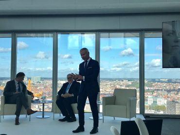 Marc Raisière, CEO de Belfius durant la présentation des résultats.