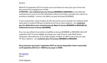 Le mail envoyé par erreur à 900 000 belges.