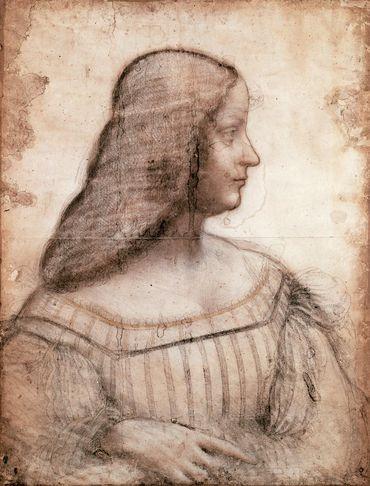 Portrait d'Isabelle d'Este, Léonard de Vinci - conservée à Paris, au département des arts graphiques du musée du Louvre