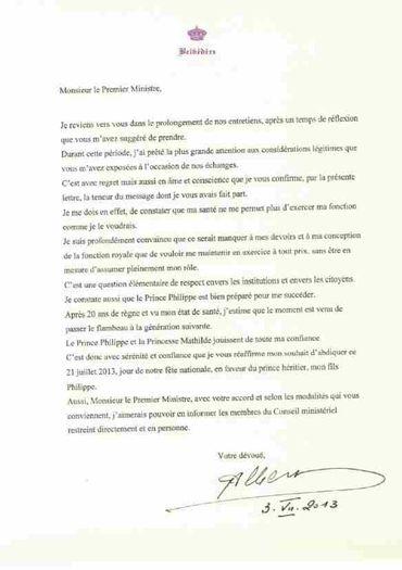 La lettre du roi Albert II au Premier ministre Elio Di Rupo