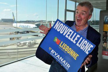 Michael O'Leary lors de la présentation de la nouvelle ligne vers Lisbonne en septembre 2016.