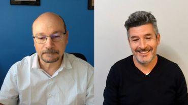 Dominique Thomas, spécialiste en filtration des aérosols, professeur à l'Université de Lorraine et David Le Dur, ingénieur en physique des aérosols.