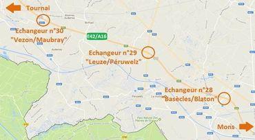 E42 Tournai - Mons : fermeture de plusieurs bretelles