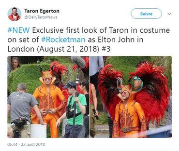Capture d'écran du tweet de Taron Egerton