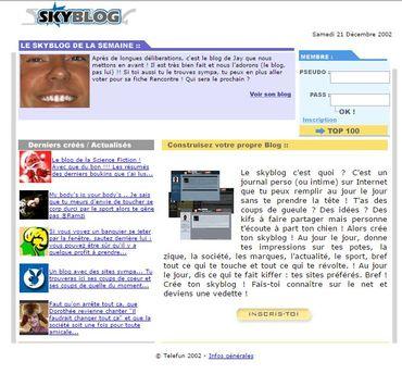 La toute première capture d'écran de la page d'accueil de Skyblog.com conservée par la Wayback Machine