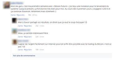 Capture d'écran de faux commentaires Facebook sur le site frauduleux.