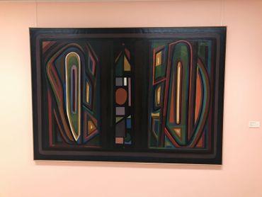 Cette toile de Henri-Jean Closon est l'un des rares grands formats des pionniers de l'abstraction belge.