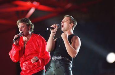Johanny Hallyday et son fils David en concert