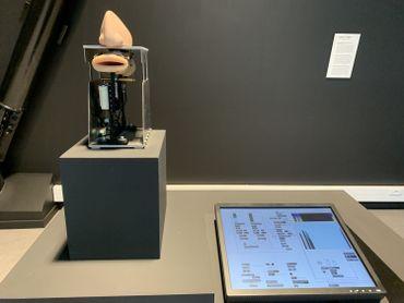 """Exposition """"Humans/Machines"""" : bouche parlante en silicone, robots dessinateur ou écolier, vases de formol... Des objets qui nous relient à notre quotidien"""