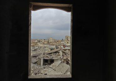 Ruines de la ville syrienne de Binnish, près de la frontière turque