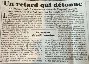 TATP, l'explosif des attentats de l'EI: ses composants encadrés partout... sauf en France