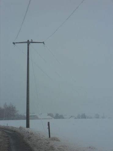 Le poids de la neige a fait tomber les fils électriques
