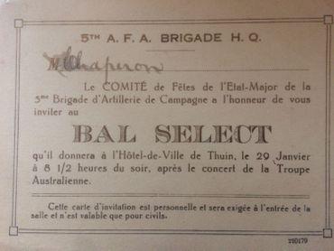 Invitation au bal de la 5e brigade de l'A.F.A (l'Australian Field Artillery)