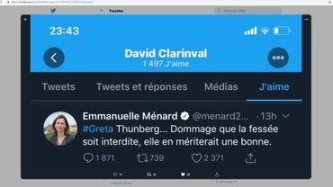 David Clarinval, chef de groupe MR à la Chambre like un tweet d'une élue française proche du Rassemblement National ( Ex FN)