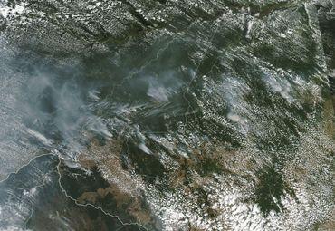 Les fumées des incendies en Amazonie photographiée par un satellite de la Nasa